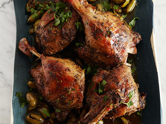Slow-Cooked Duck with Green Olives and Herbes de Provence