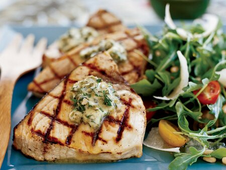 Grilled Swordfish Steaks With Basil Caper Butter