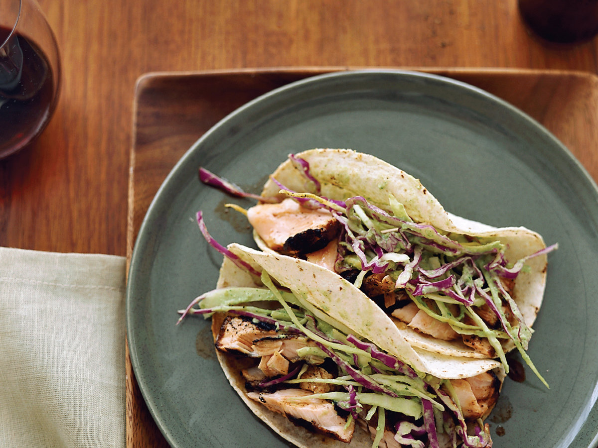 Day 5: Dry-Rubbed Salmon Tacos with Tomatillo-Avocado Slaw