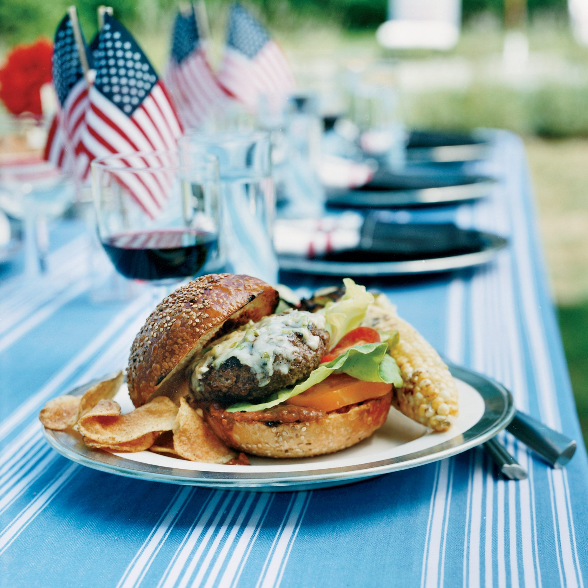 Beef Burgers with Peanut–Chipotle Barbecue Sauce