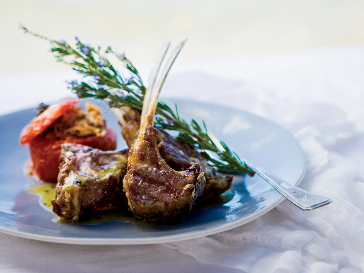 Grilled Lamb Chops with Ladolemono