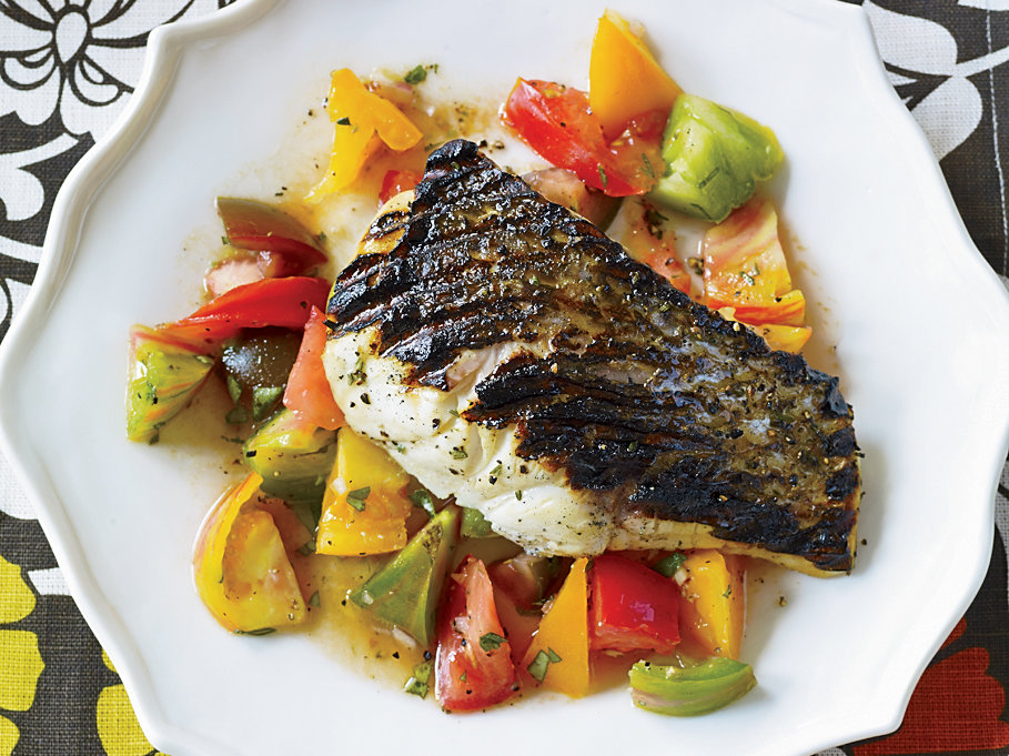 Day 26: Grilled Striped Basswith Indian-Spiced Tomato Salad