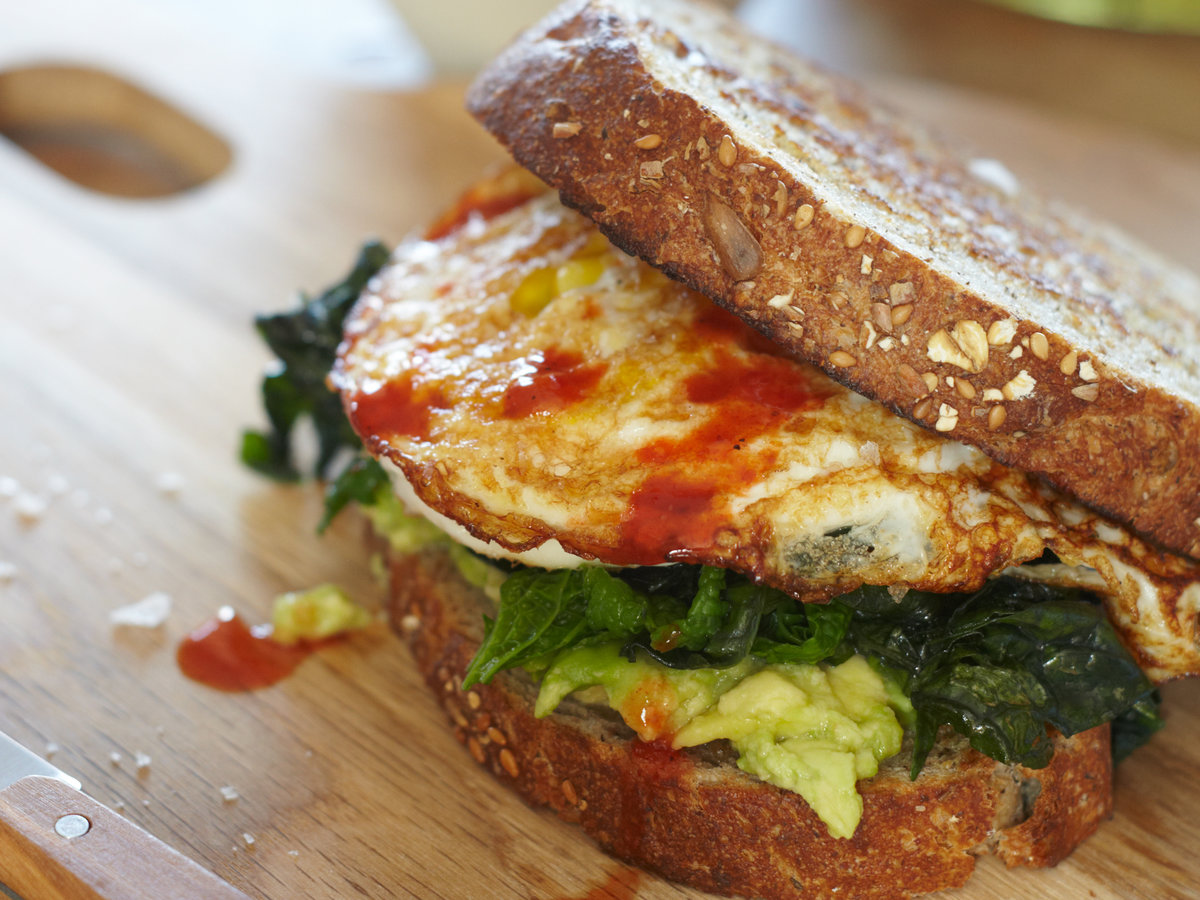 Day 19: Egg Sandwich with Mustard Greens and Avocado