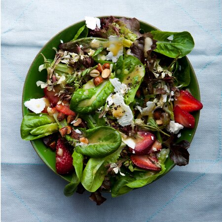 Baby Lettuces with Feta, Strawberries and Almonds