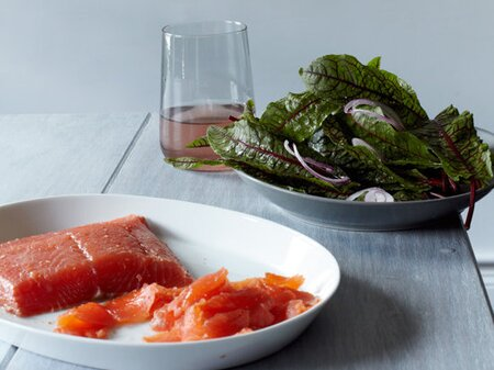 a05a400ab0a2 Mezcal-Cured Salmon with Sorrel Salad Recipe - Alex Stupak