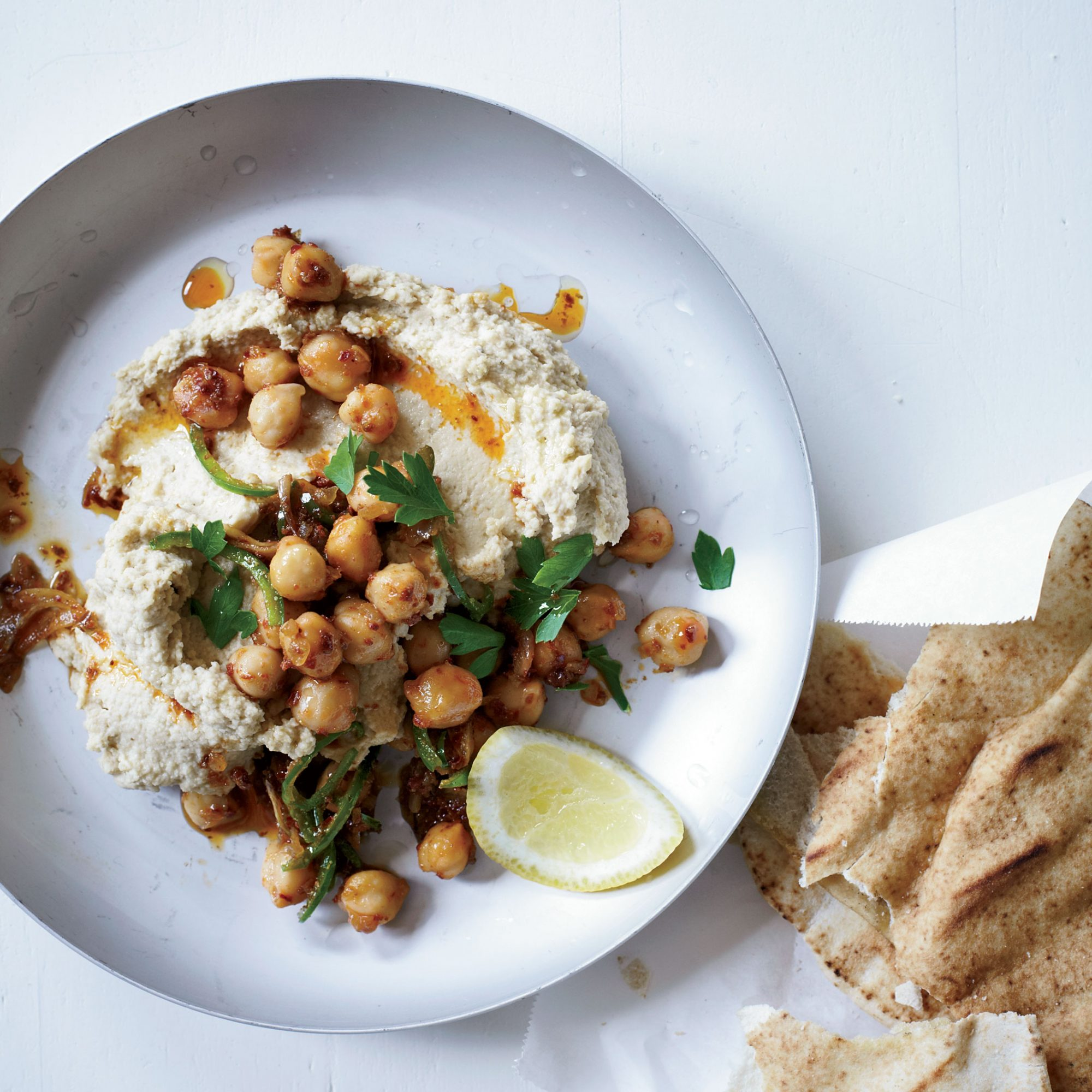Hummus with Tahini and Spicy Chickpeas