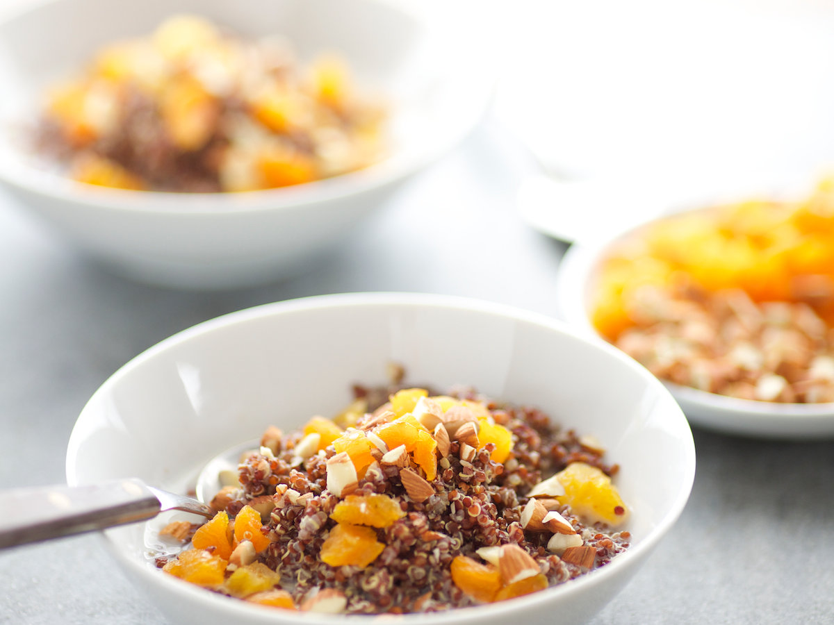 Quinoa Porridge with Toasted Almonds and Apricots