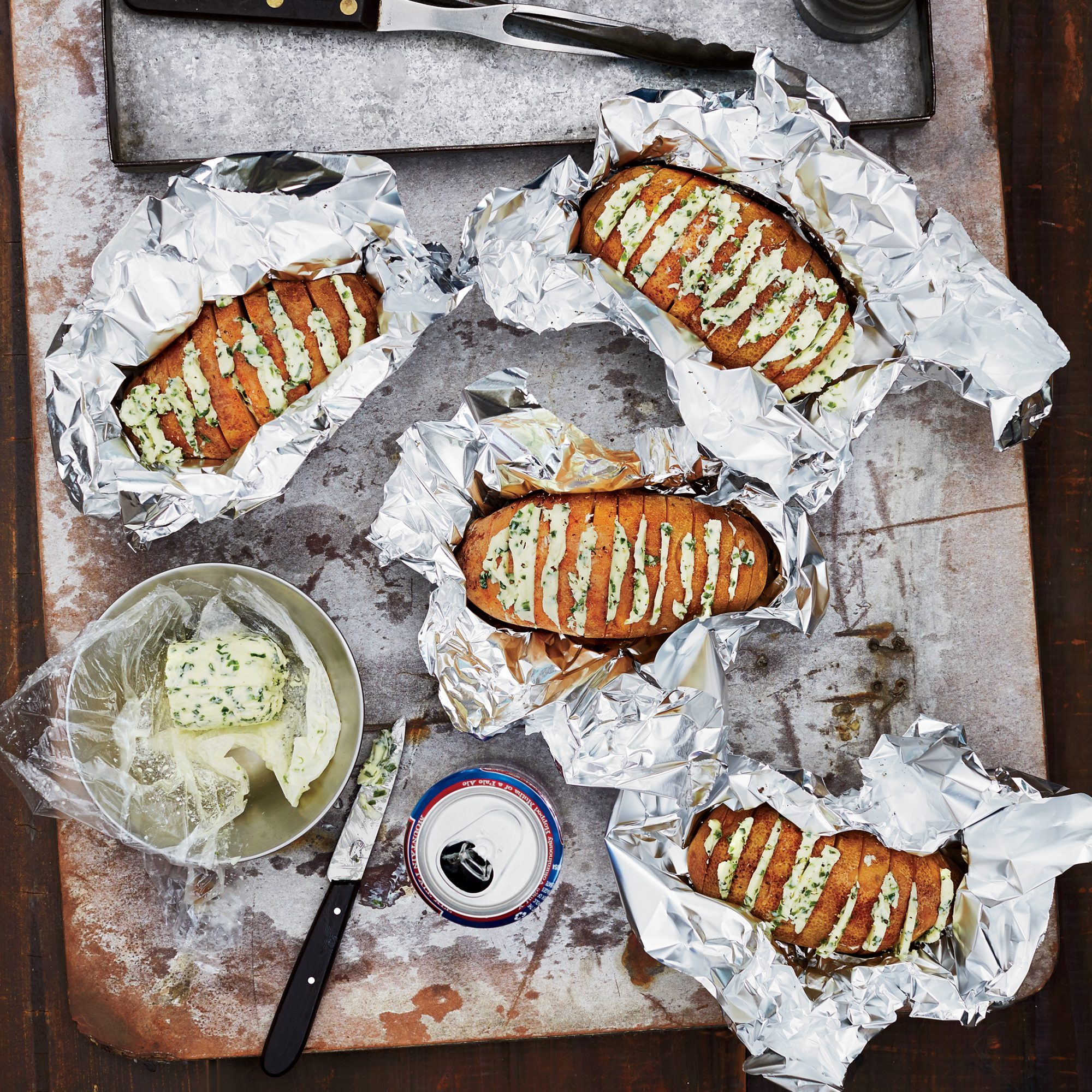Day 24: Grill-Baked Potatoes with Chive Butter