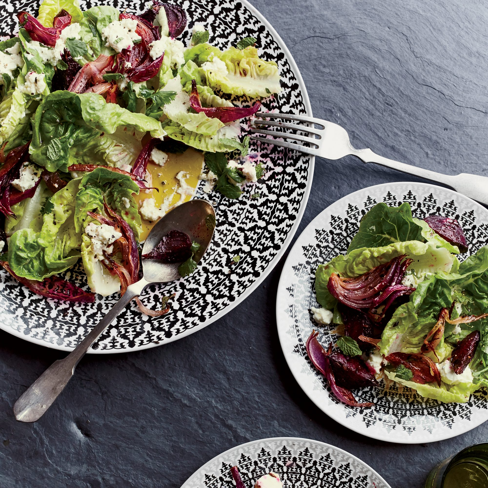 Little Gem Lettuce with Roasted Beets and Feta Dressing