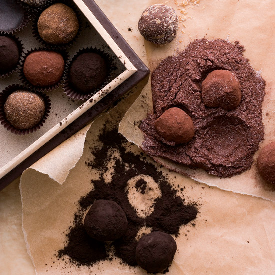 Bittersweet Chocolate Truffles Rolled in Spices
