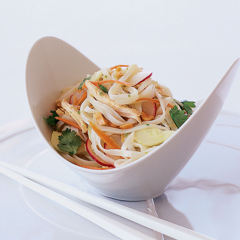 Asian Chicken and Rice-Noodle Salad with Peanuts