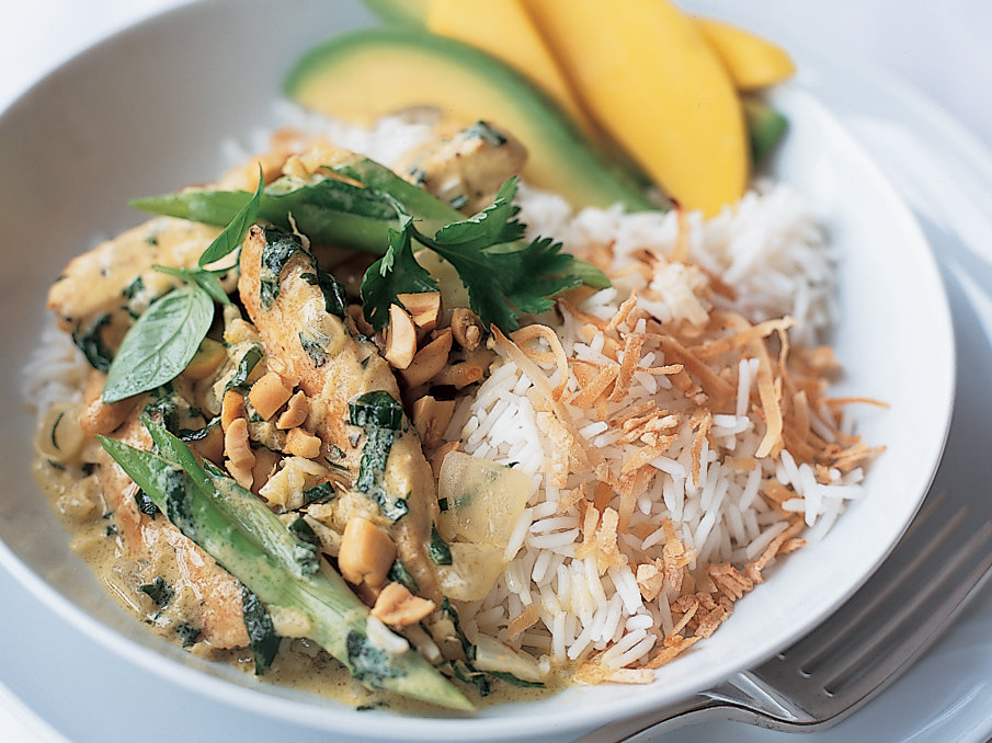 Basil Chicken Curry with Coconut Rice