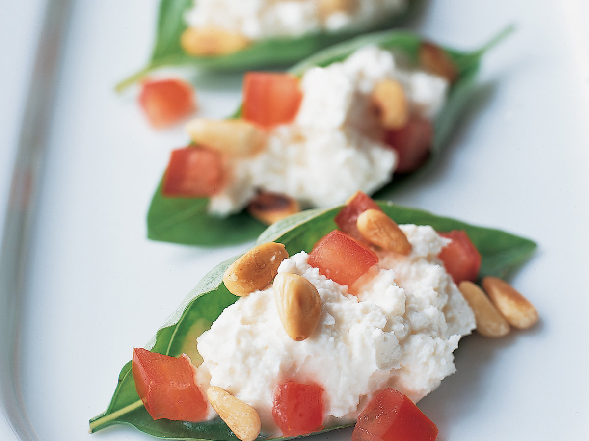 Basil Leaves Stuffed with Chèvre and Pine Nuts