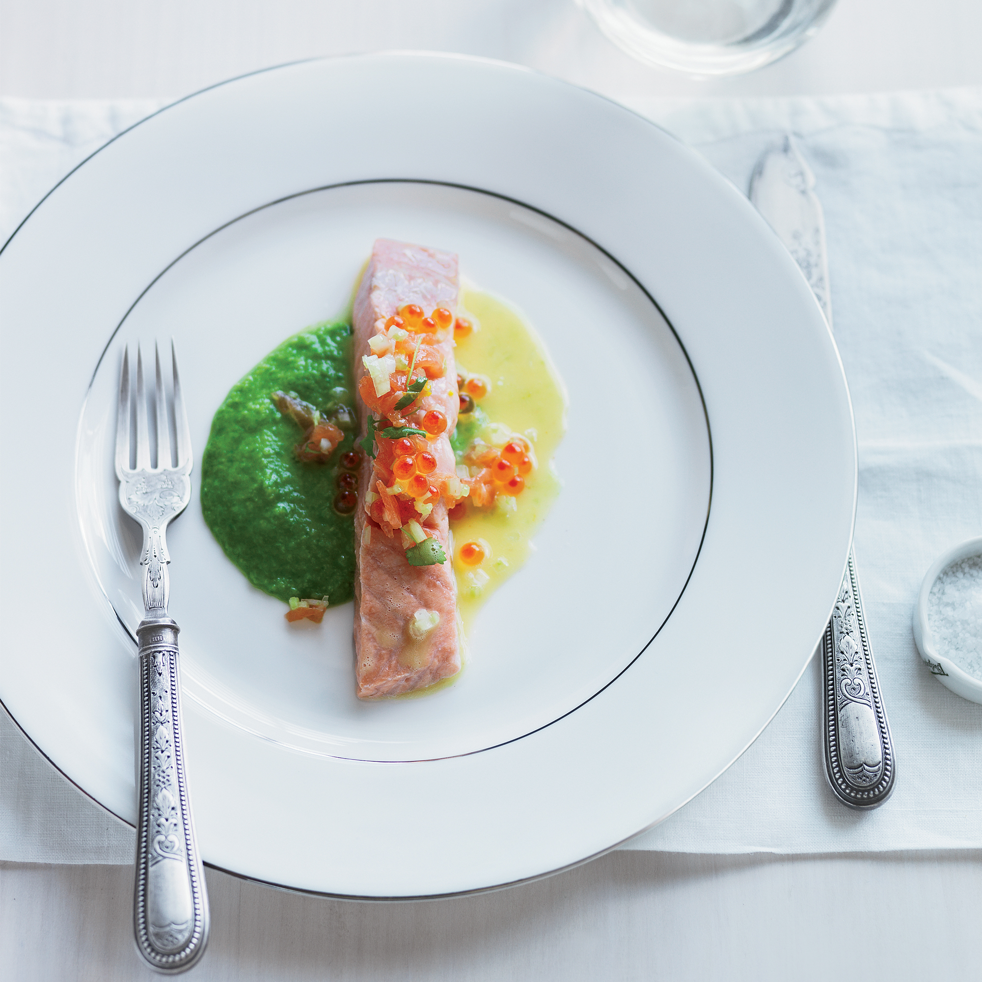 Barely Cooked Salmon with Pea-Wasabi Puree & Yuzu Butter Sauce