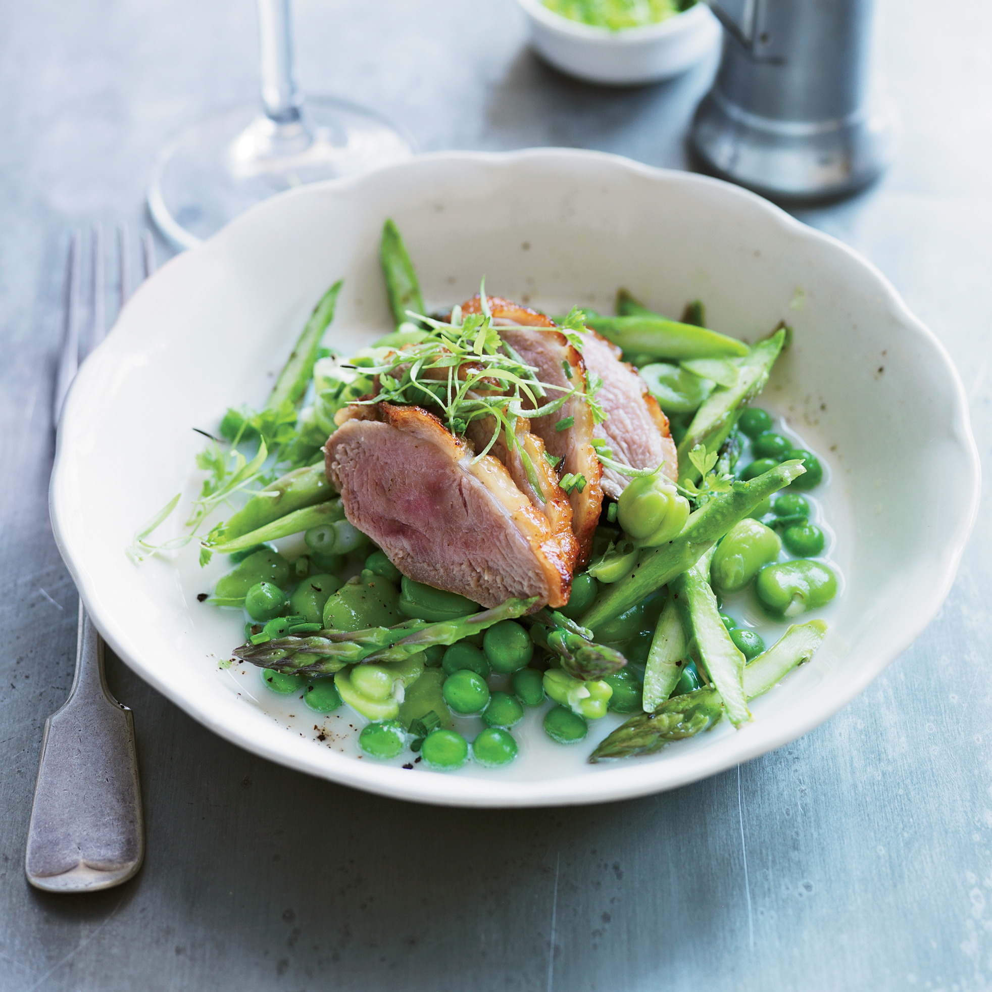 Salt-Cured Duck Breasts with Fava Beans & Sweet Peas