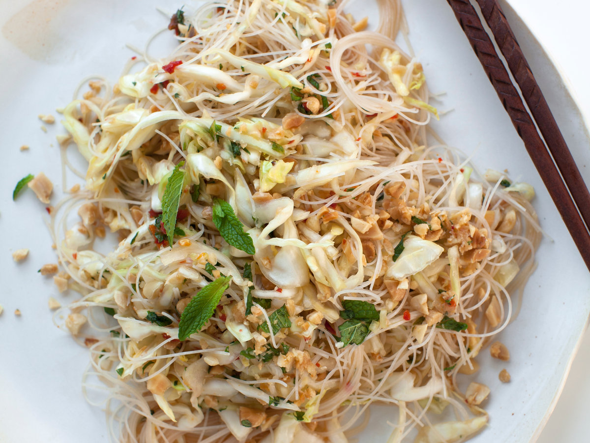 Cambodian Noodle Salad with Sweet Pepper Dressing