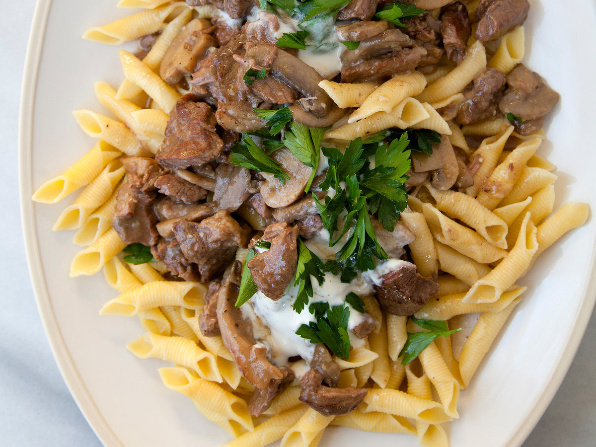 Slow Cooker Beef Stroganoff with Garganelli Pasta Recipe - Sarah Bolla |  Food & Wine