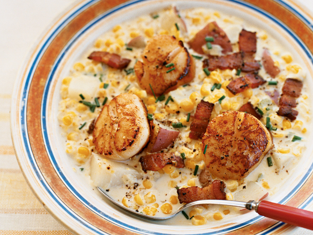 Corn Chowder with Bacon and Sea Scallops