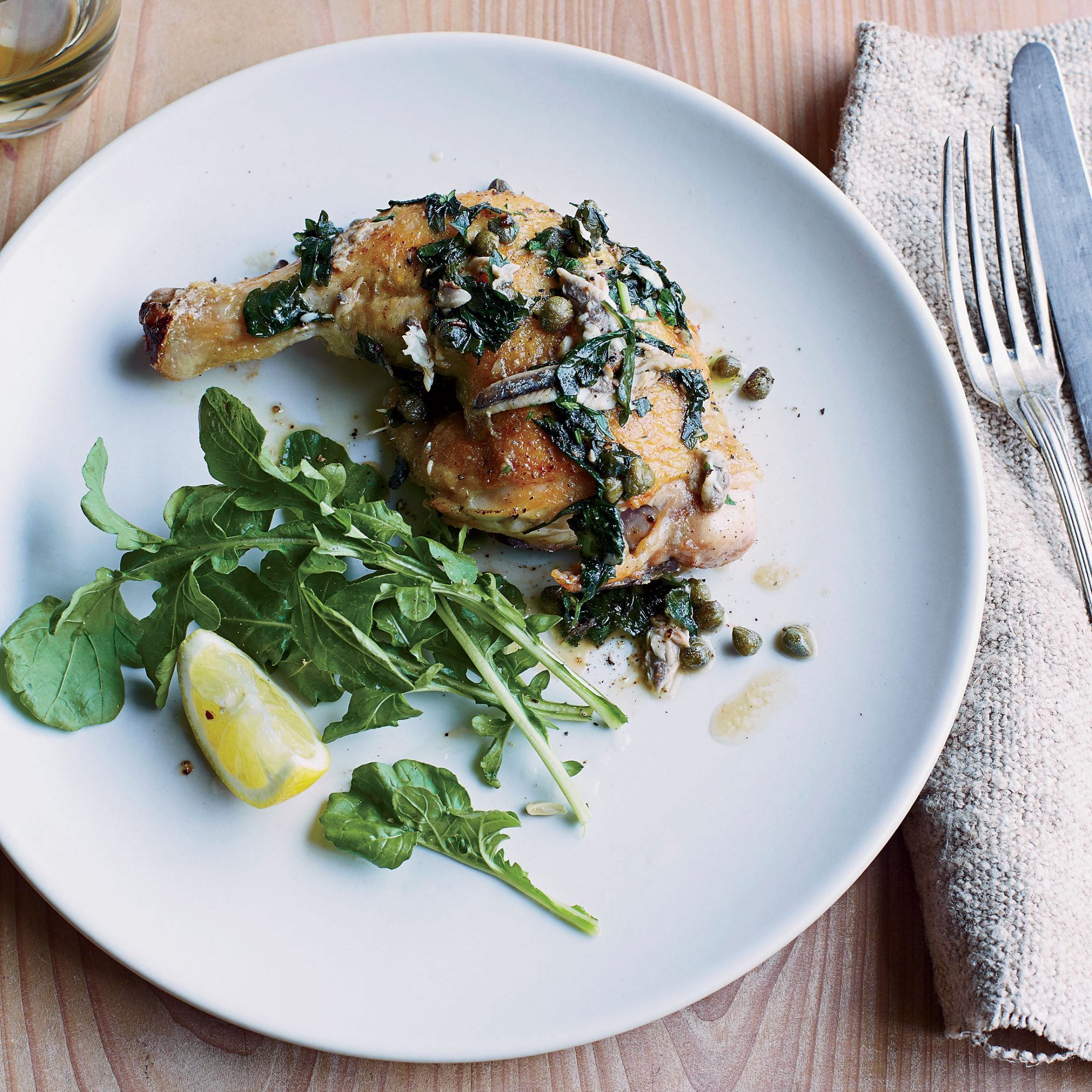 Crispy Pan-Roasted Chicken with Anchovies, Capers and Lemon