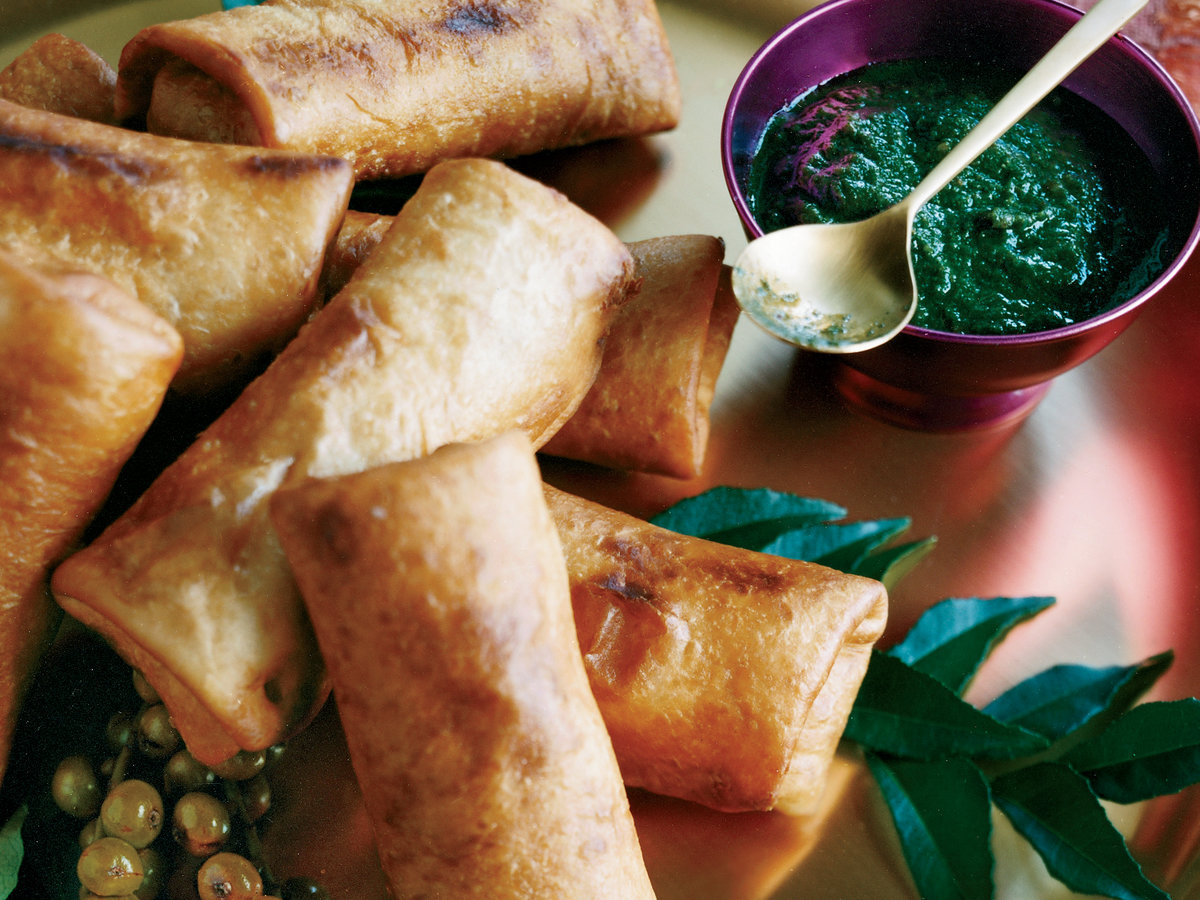 Crispy Turkey Kathi Rolls with Mint-and-Date Dipping Sauce