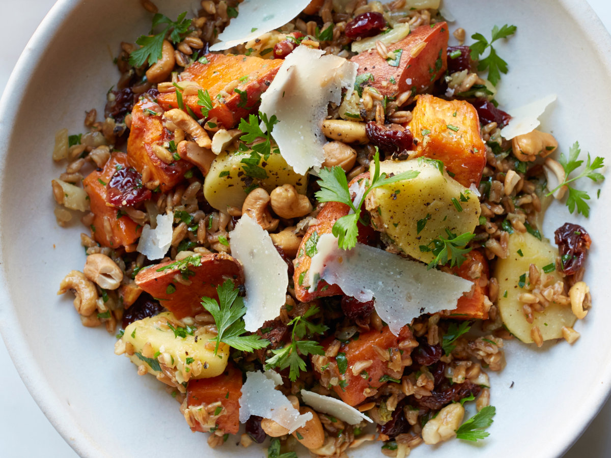 Farro with Vinegar-Glazed Sweet Potato and Apples