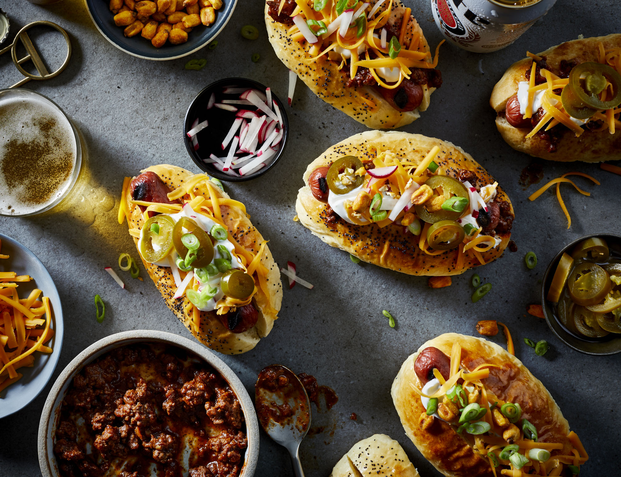 Ultimate Loaded Chili-Topped Hot Dogs