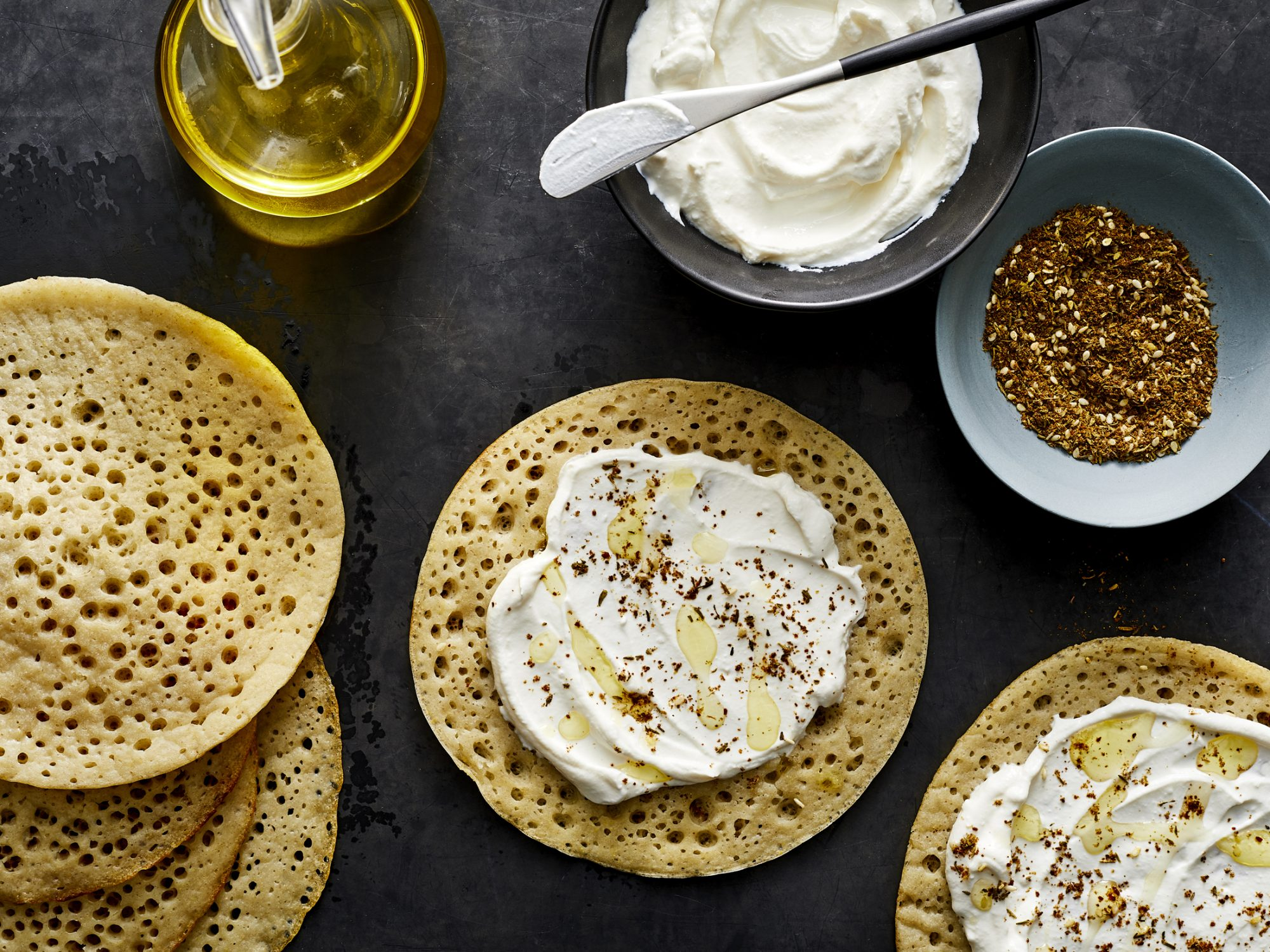 Lachuch with Labneh and Za'atar