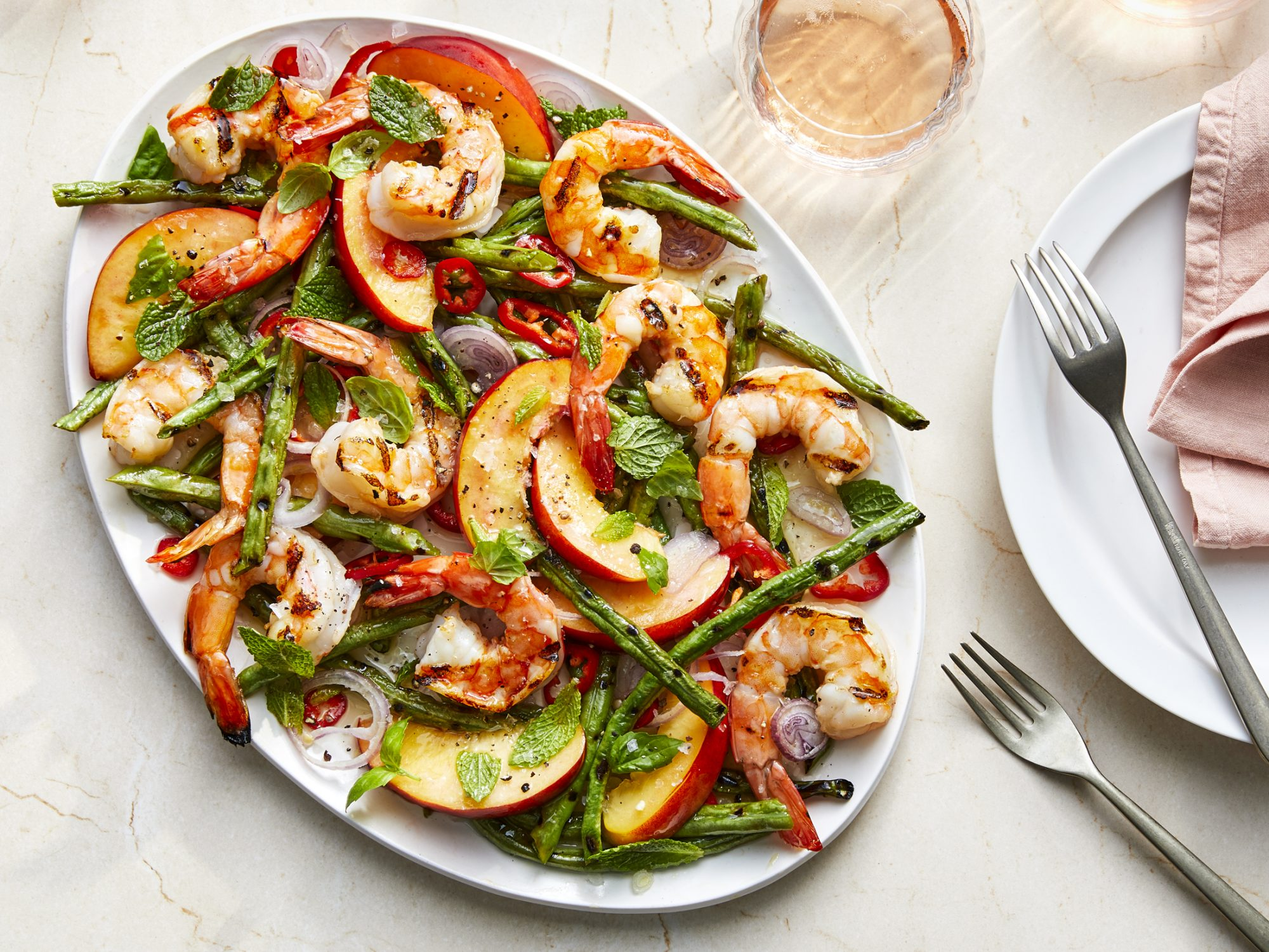 Grilled Shrimp Salad with Nectarines and Pickled Shallots