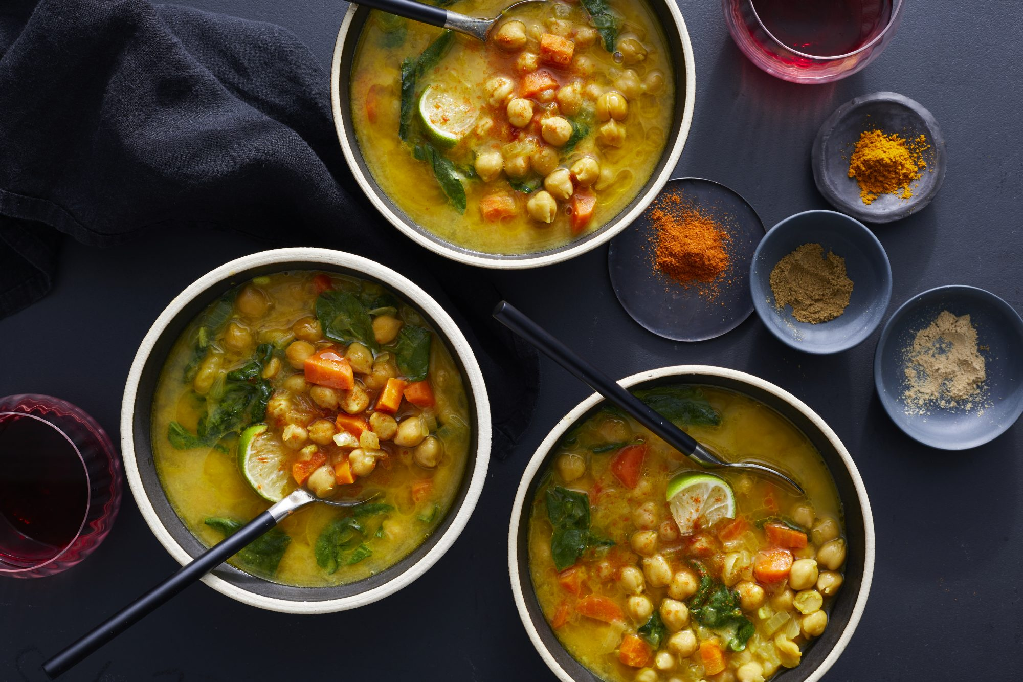 Moroccan Chickpea, Carrot, and Spinach Soup