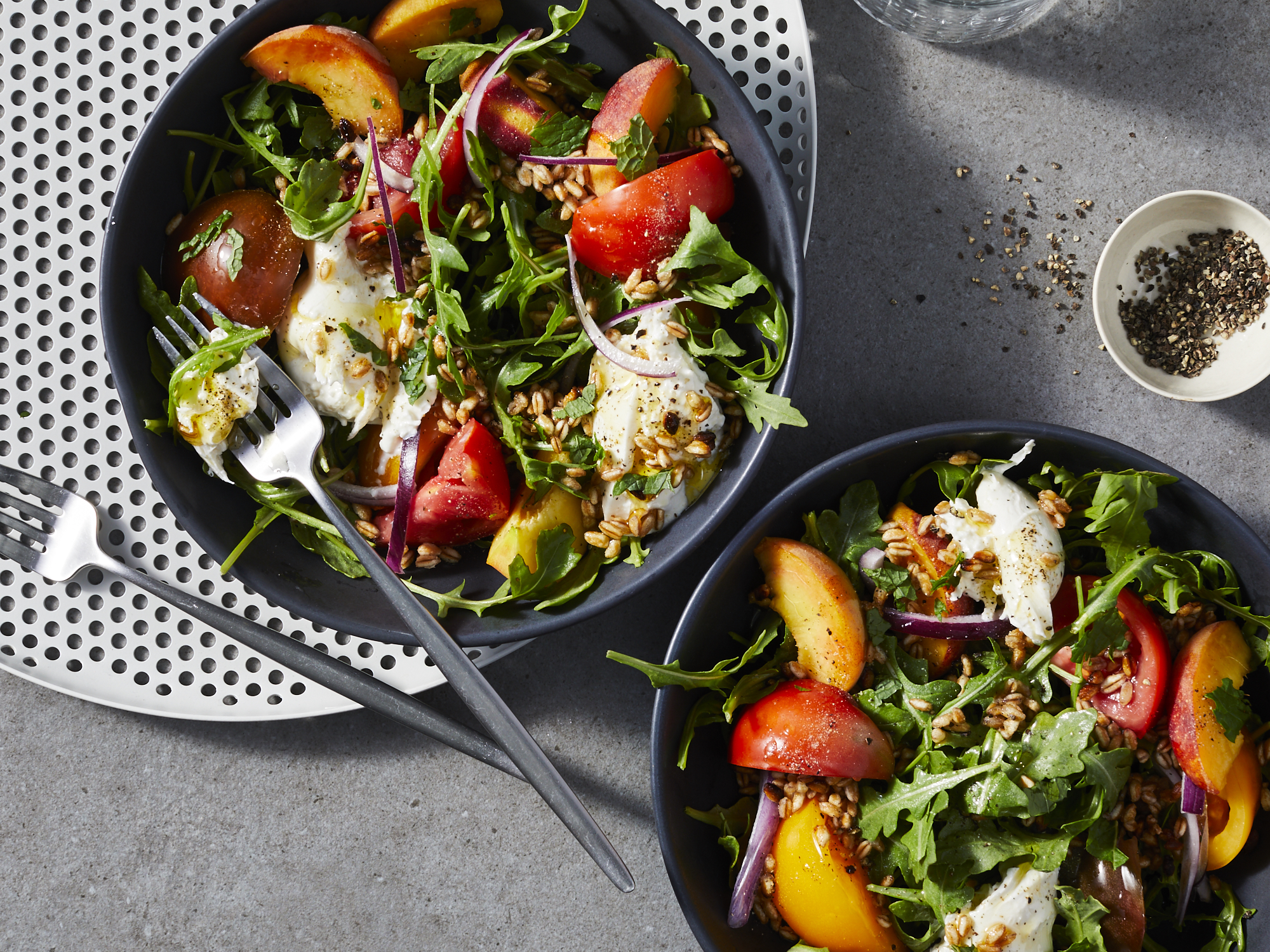 Peach, Tomato, and Fried Farro Salad with Burrata