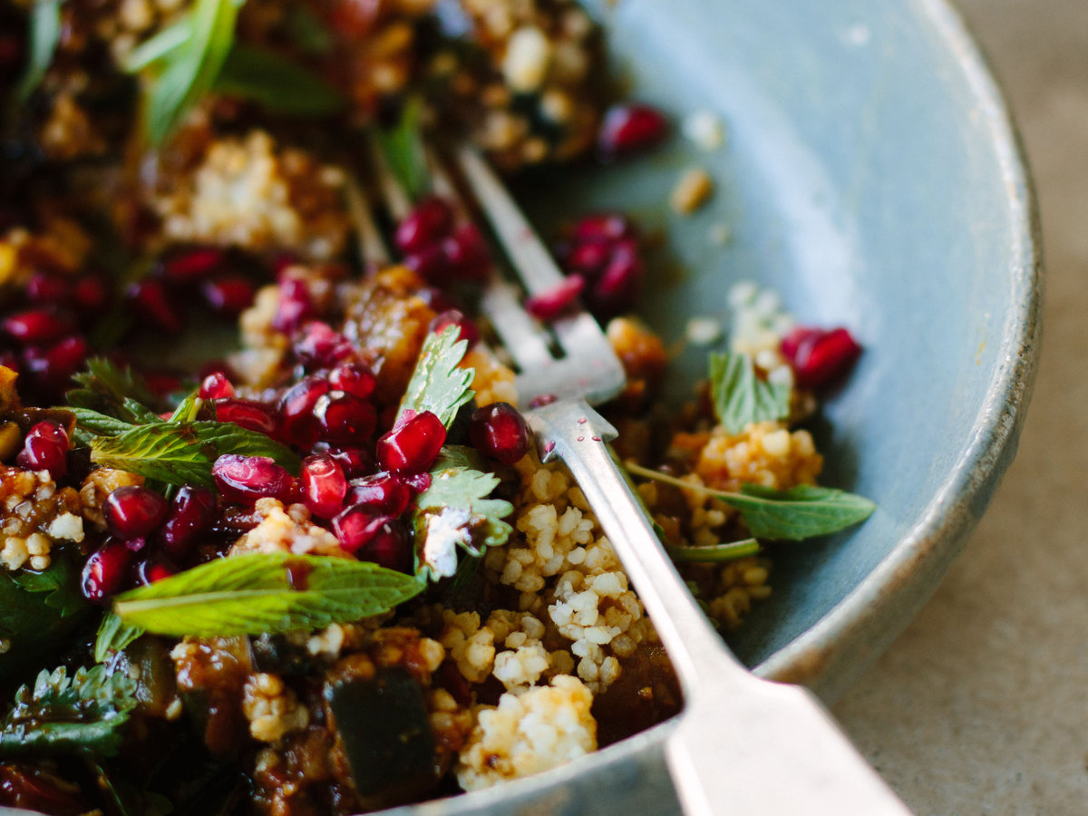 Eggplant with Pomegranate, Millet and Mint