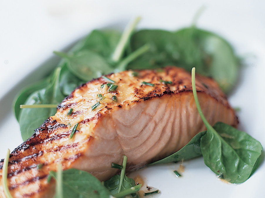 Grilled Salmon Salad with Miso Vinaigrette