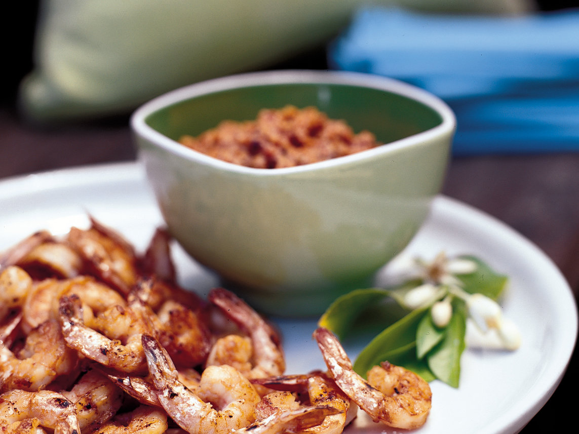 Grilled Shrimp with Cocoa-Nib Romesco Sauce
