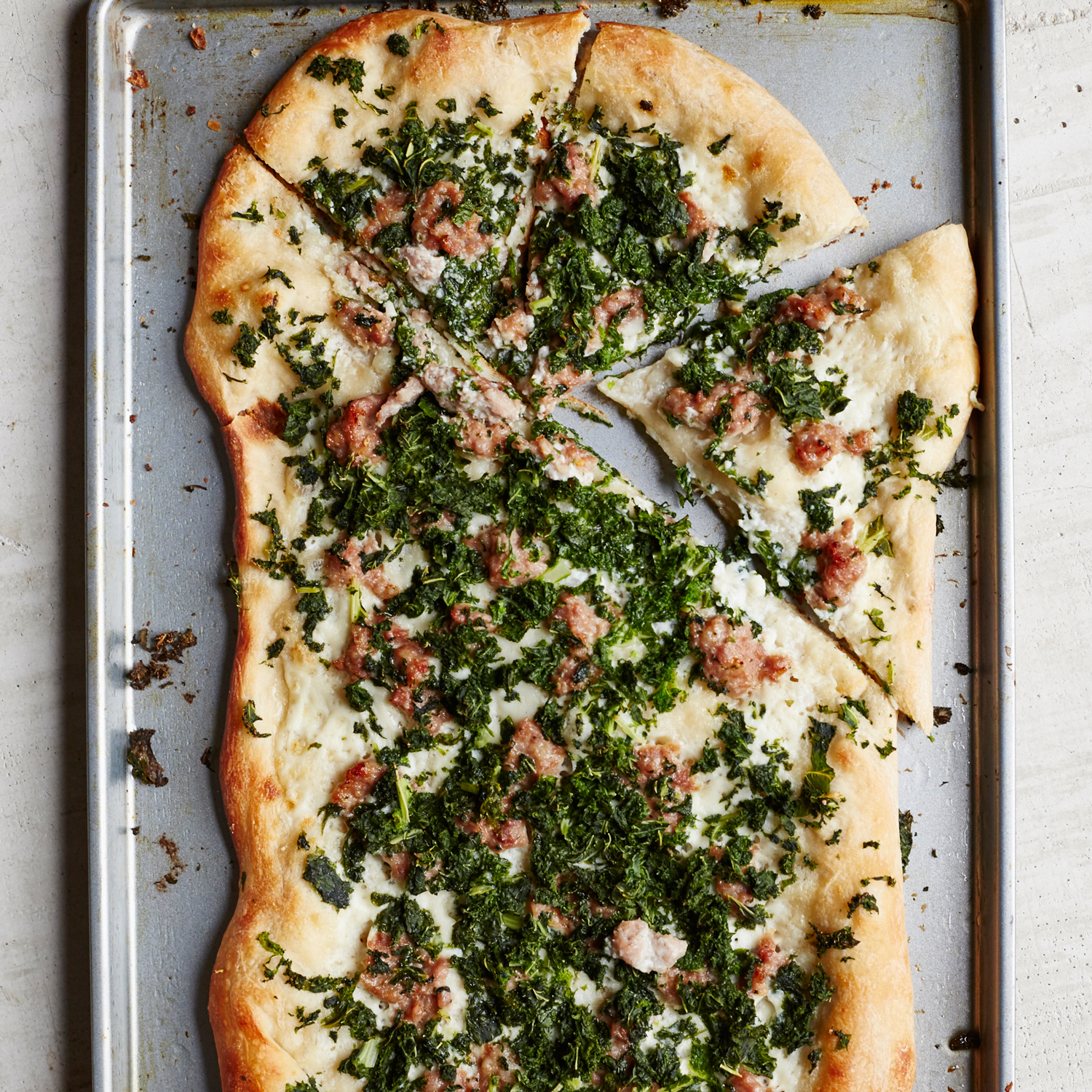 Kale and Sausage Pizza