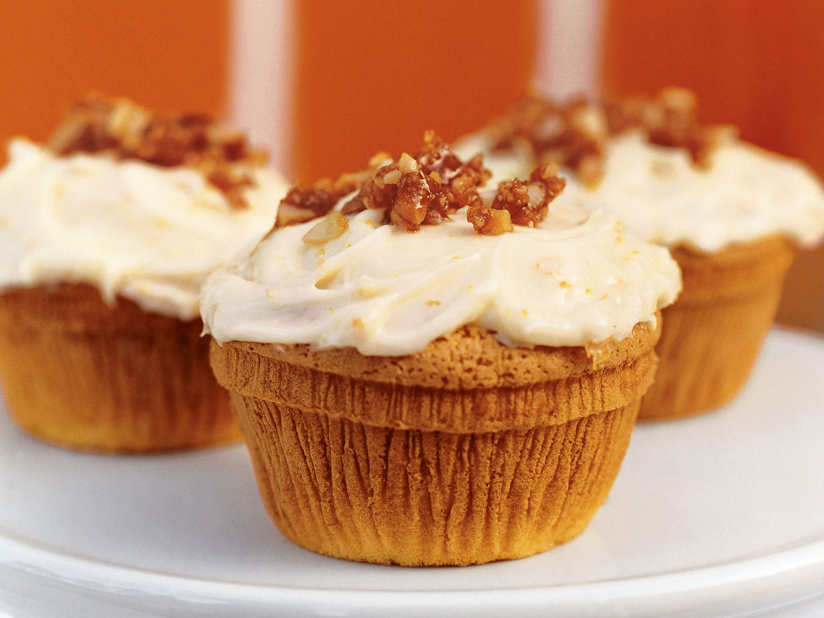 Orange Cupcakes with Macadamia Nut Crackle