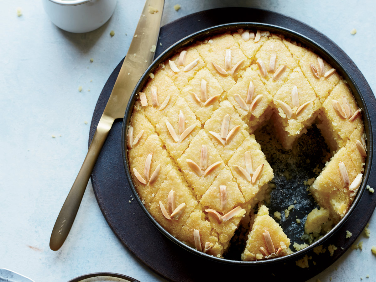 Sweet Semolina Cake with Rose Water