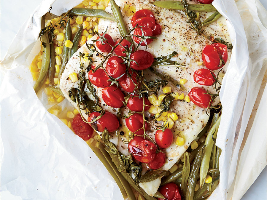 Halibut in Parchment with Corn and Tomatoes