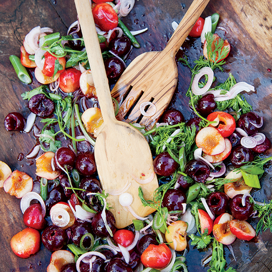 Fresh Cherries with Spring Onions and Cilantro