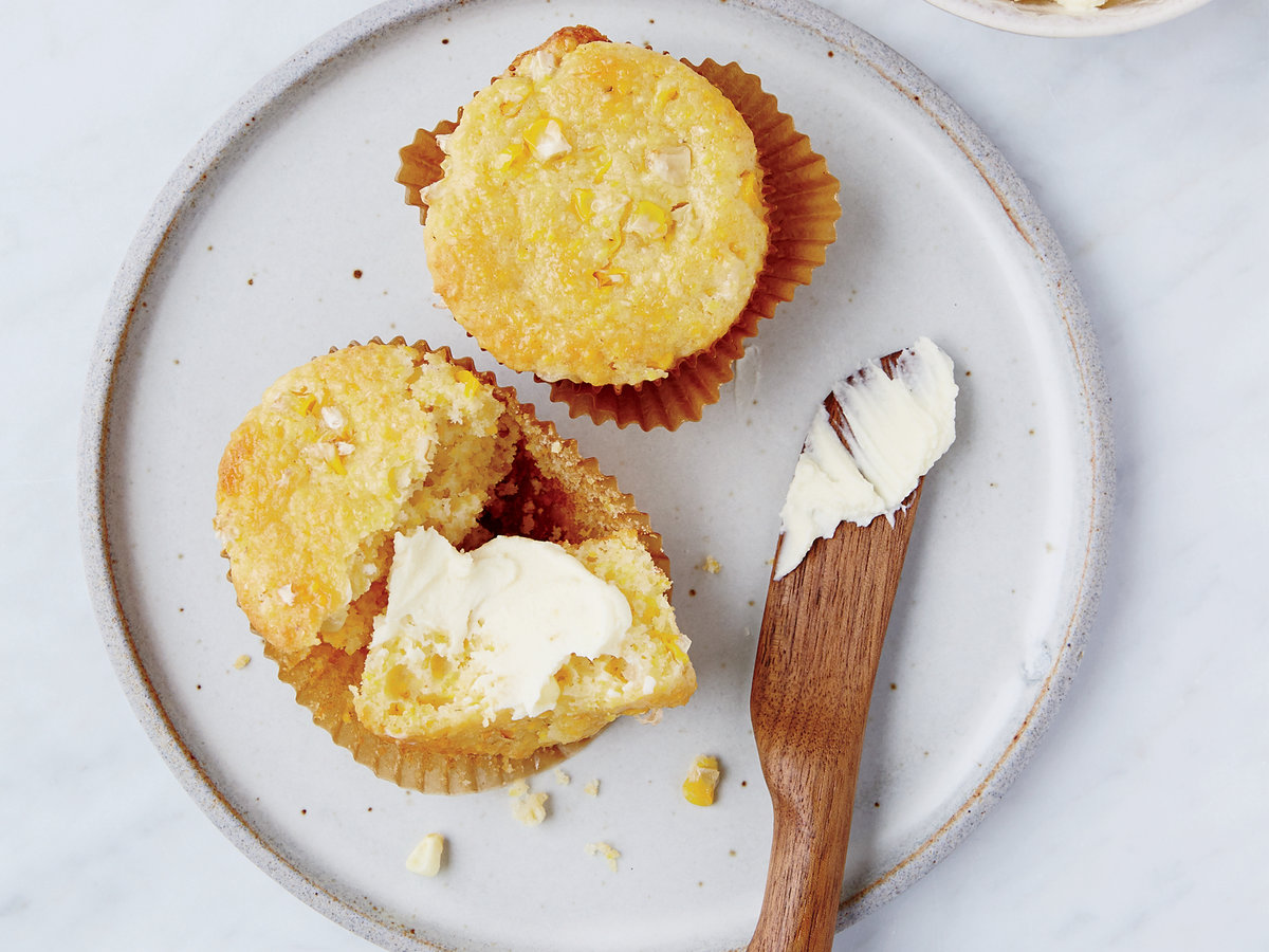 Corn-Studded Corn Muffins with Honey Mascarpone