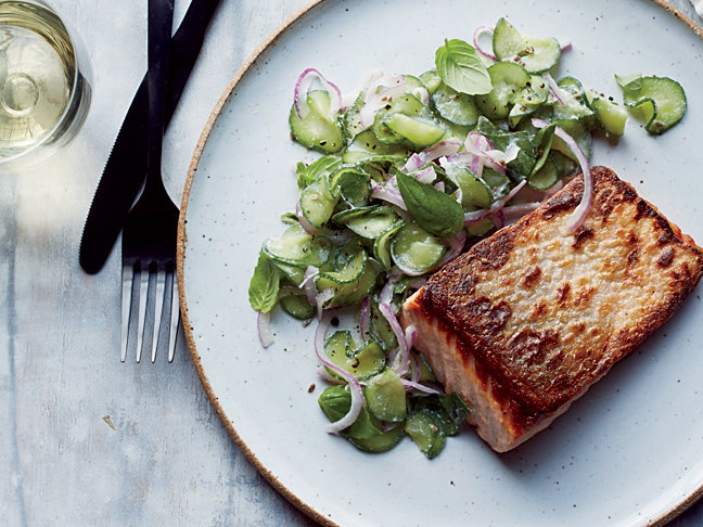 Seared Salmon with Anise-Cucumber Salad