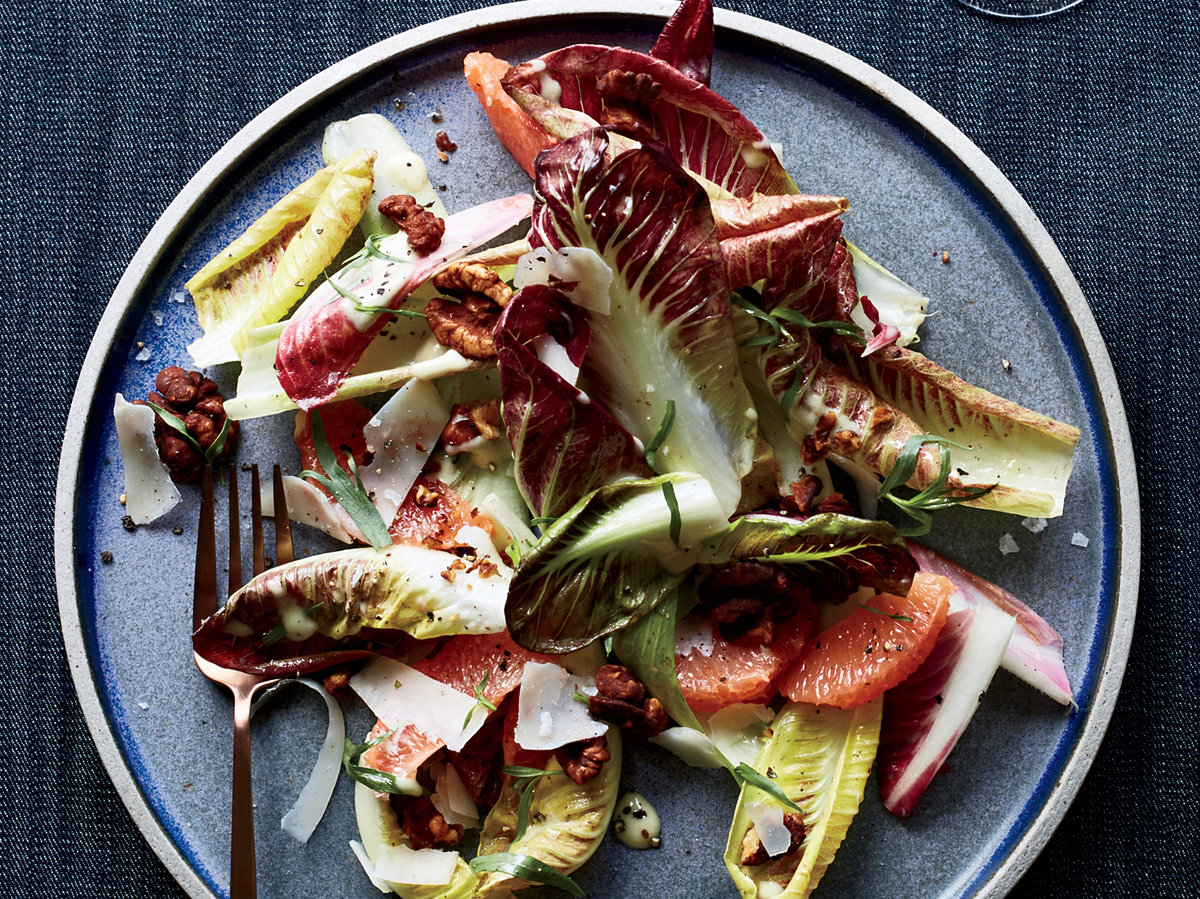 Endive-and-Manchego Salad with Smoked Cocoa Walnuts