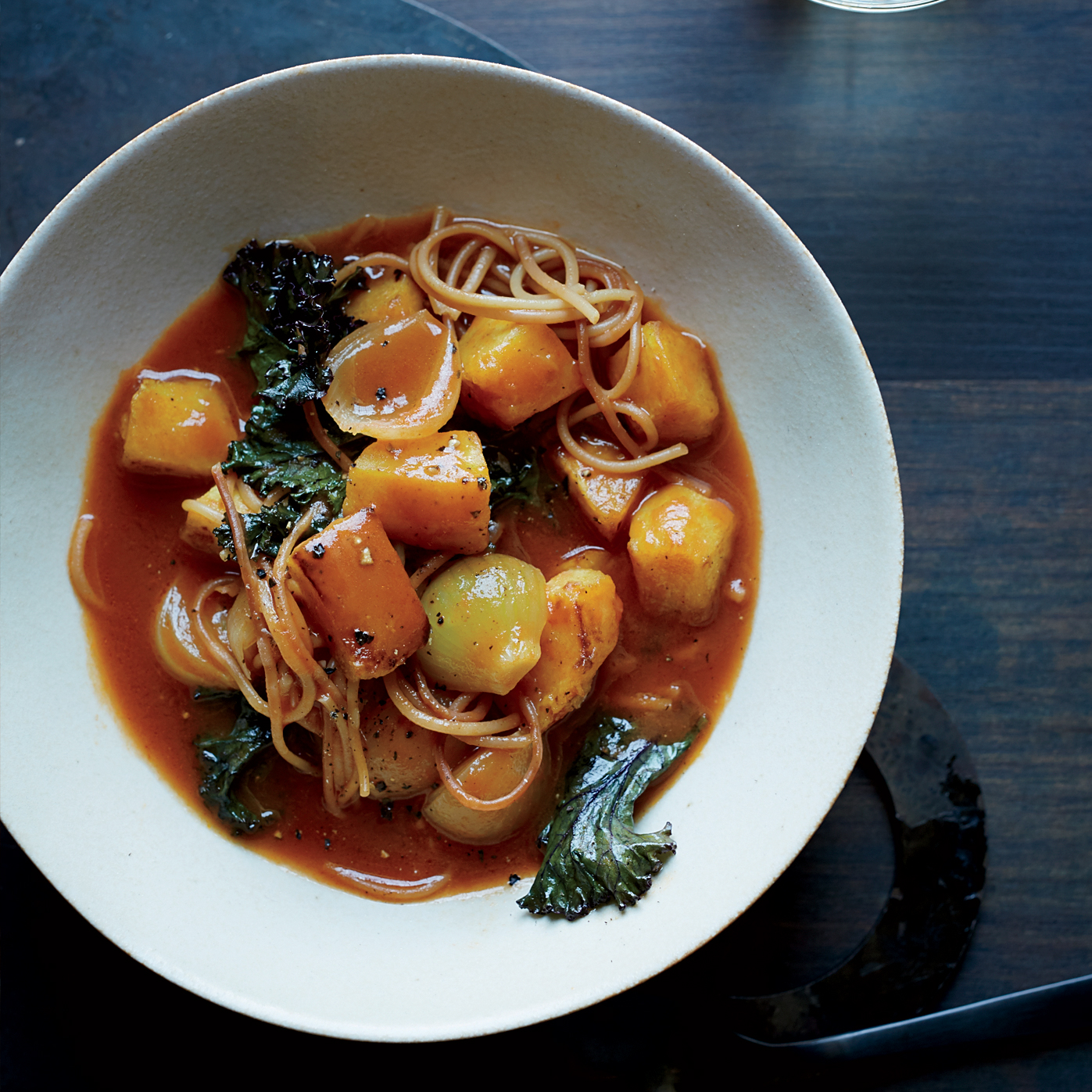 Winter Squash Soup with Kale and Fideos