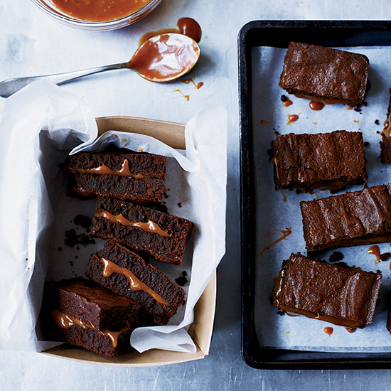 Salted Caramel-Filled Fudge Brownies