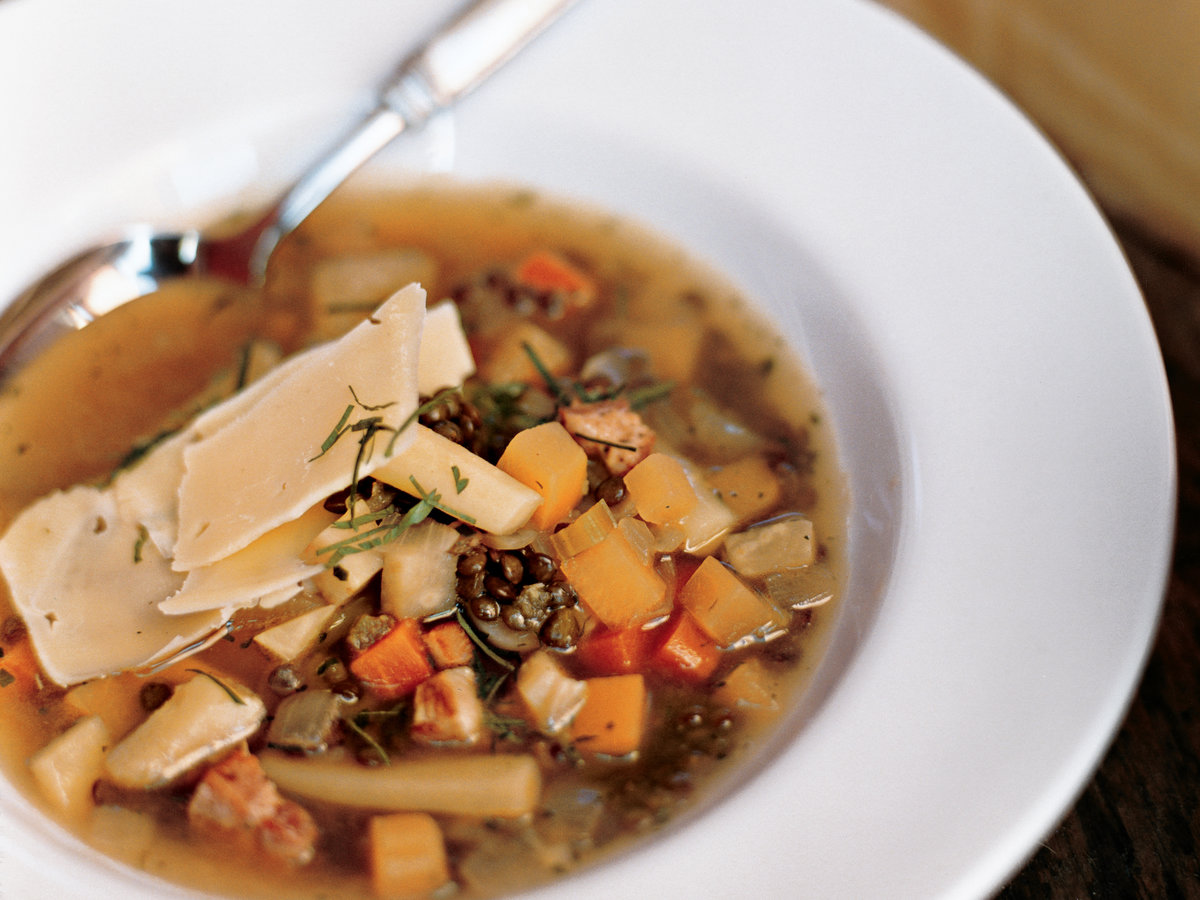 Root Vegetable Soup with Lentils and Gruyère
