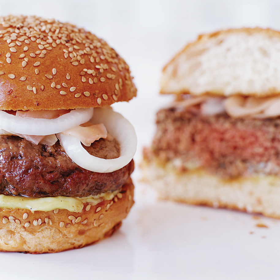 Sirloin Burgers with Wasabi Mayo and Ginger-Pickled Onions