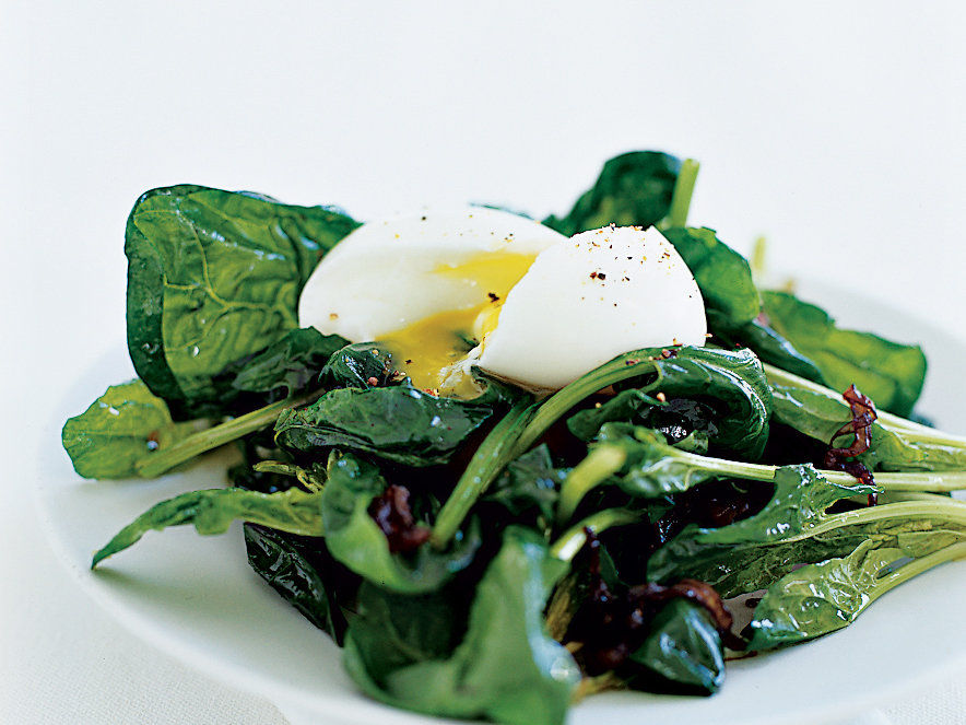 Warm Spinach Salad with Soft-Poached Eggs