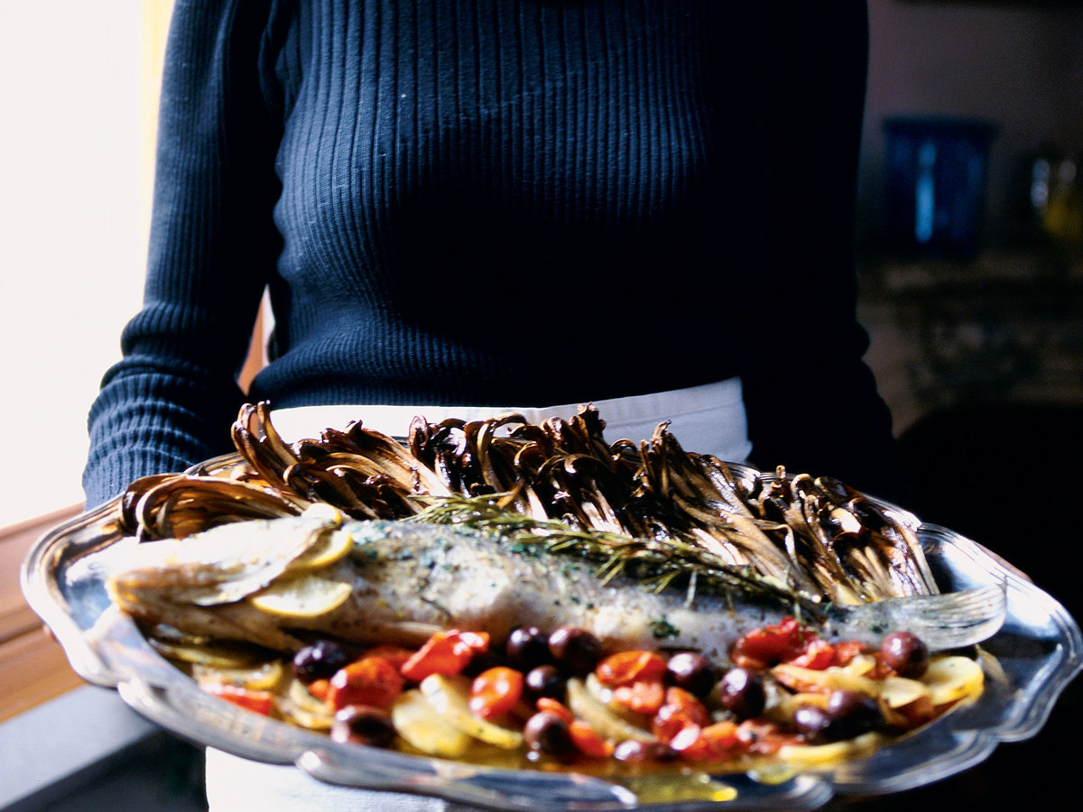 Whole Roasted Sea Bass with Potatoes and Olives