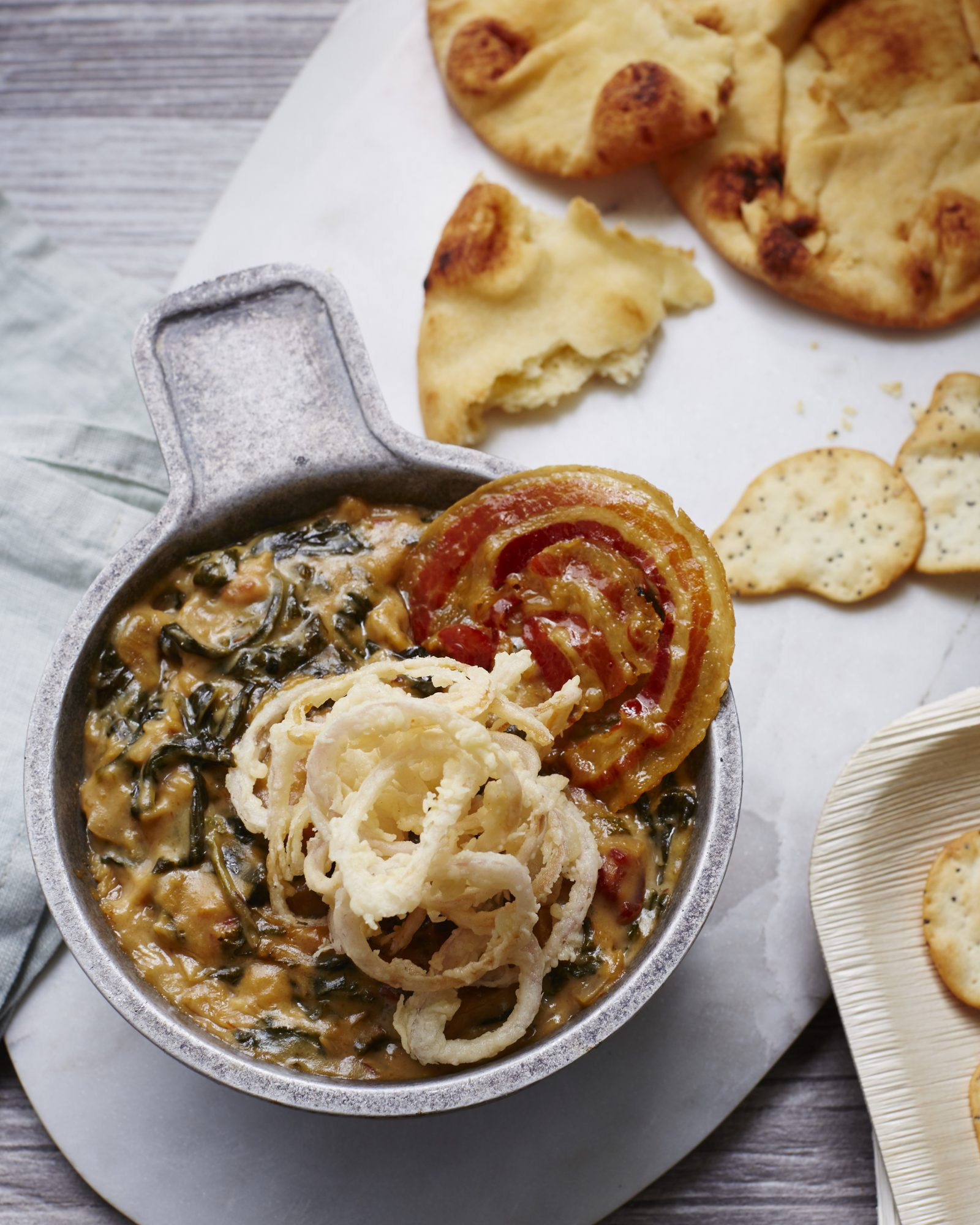 Three-Cheese Spinach and Caramelized Onion Dip