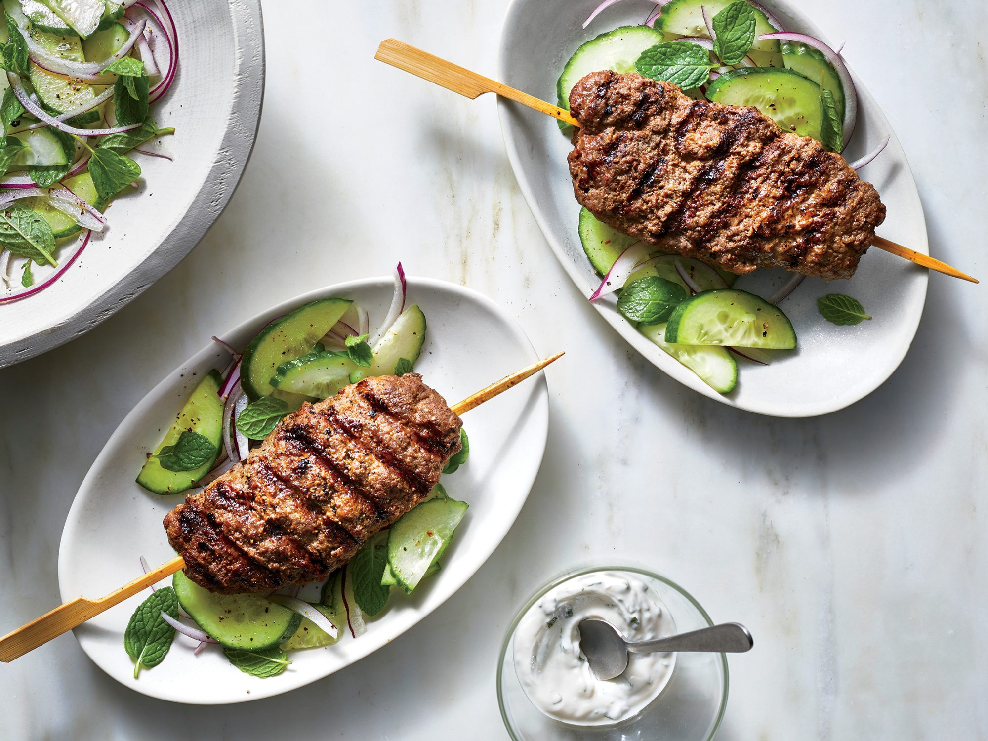 Beef Kebabs with Cucumber-Mint Salad