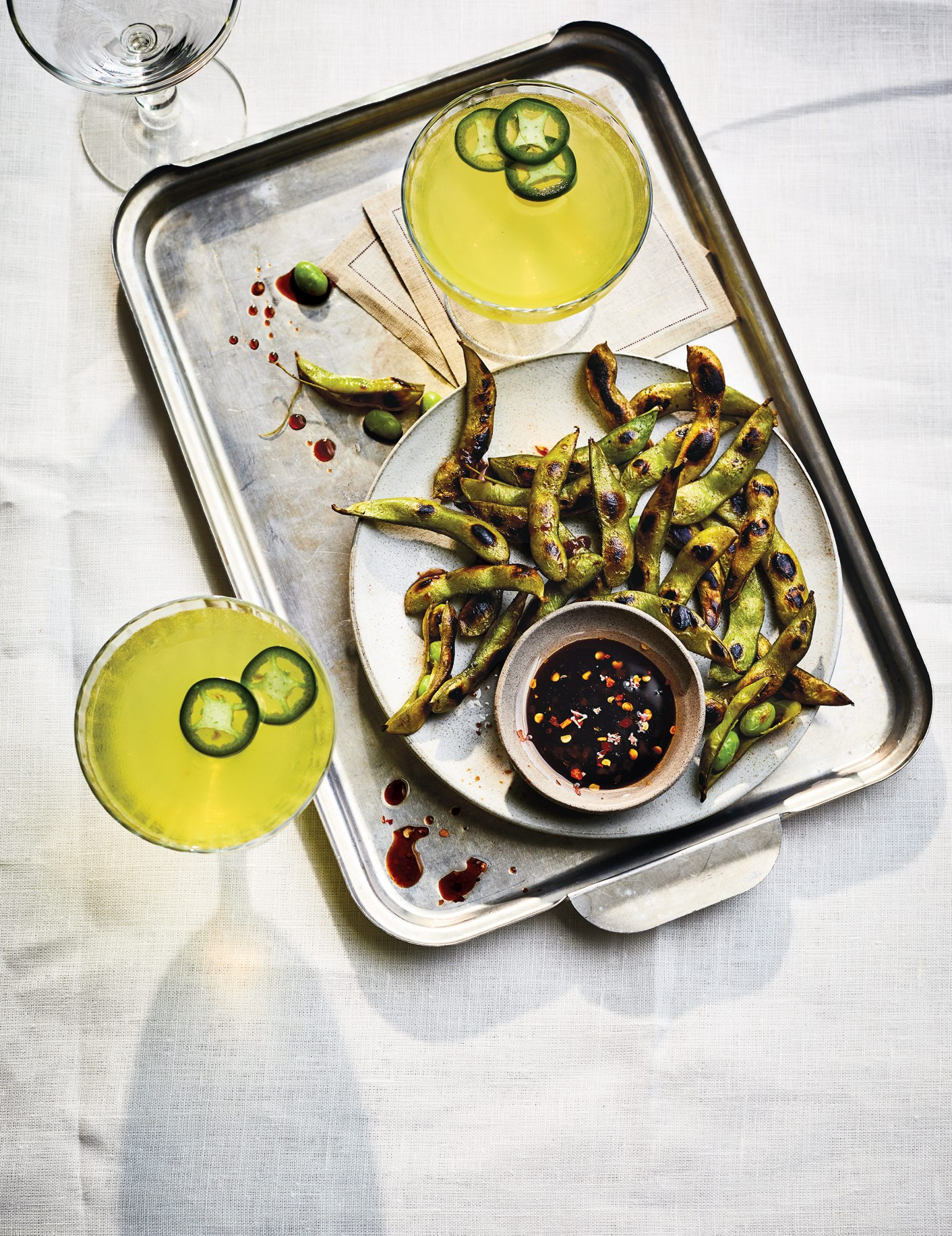 Charred Edamame With Ginger Dipping Sauce